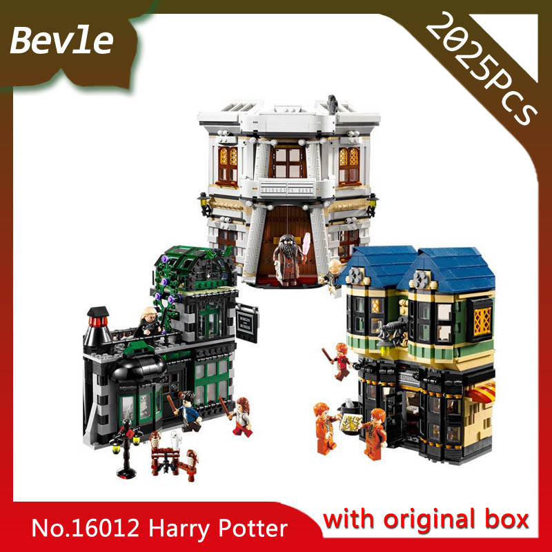 Bevle Store LEPIN 16012 2075Pcs with original box Movie series Diagon Alley Building Blocks Bricks For Children Toys 10217 bevle store lepin 22001 4695pcs with original box movie series pirate ship building blocks bricks for children toys 10210 gift