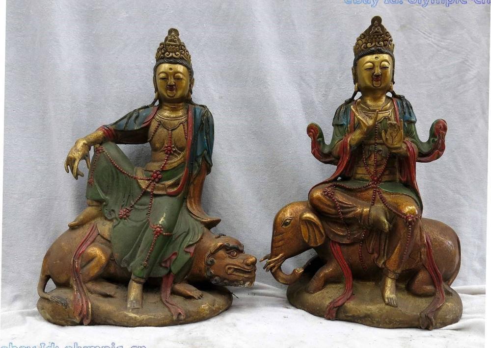 14 Tibet bronze gild carved lion Wen Shu and elephant Pu Xin buddha Pair Statue14 Tibet bronze gild carved lion Wen Shu and elephant Pu Xin buddha Pair Statue