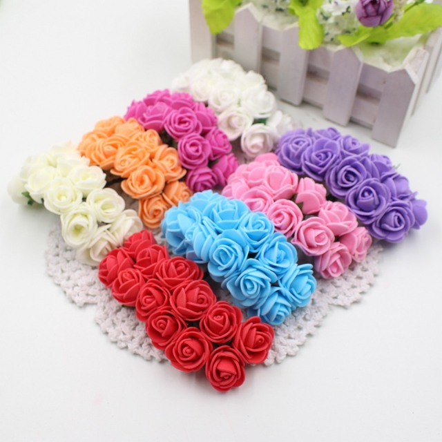 144 stks 2 cm Mini Foam Rose Kunstmatige Boeket Multicolor Rose Bruiloft Bloem Decoratie Scrapbooking Fake Rose Bloem