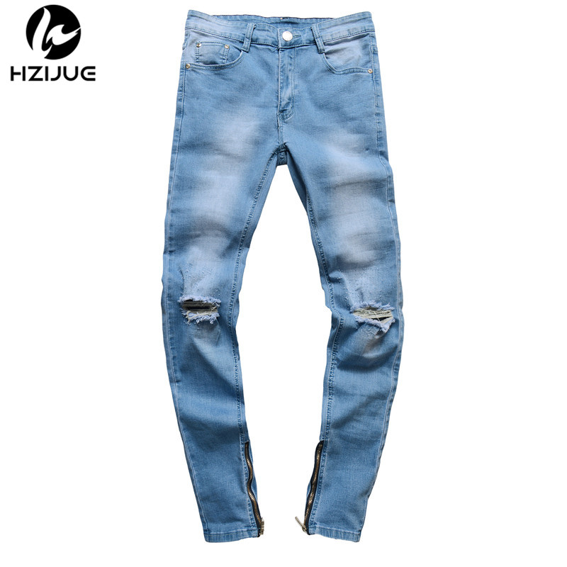 HZIJUE Brand Designer Slim Fit Ripped Jeans Men hip hop Distressed Denim Joggers Knee Holes Washed Destroyed Mens Zipper Jeans men distressed knee holed jeans vintage enzyme washed male ripped denim pants slim fit korean fashion kpop broken jeans