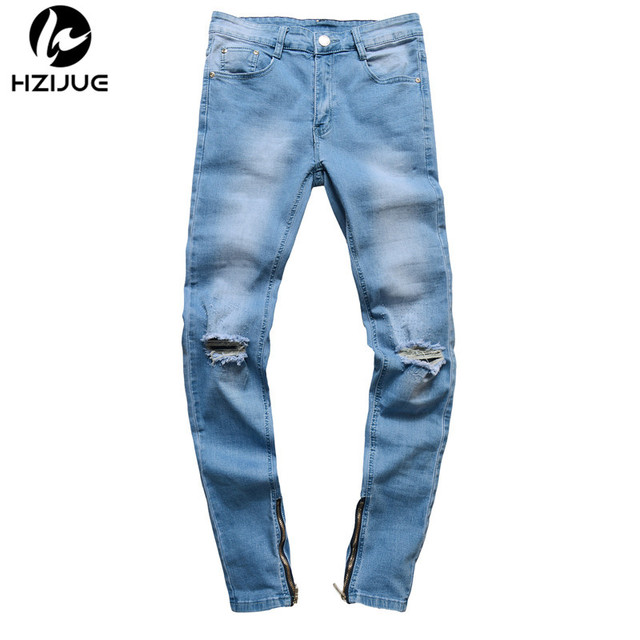 0b5bd423a2 US $22.91 28% OFF|HZIJUE Brand Designer Slim Fit Ripped Jeans Men hip hop  Distressed Denim Joggers Knee Holes Washed Destroyed Mens Zipper Jeans-in  ...