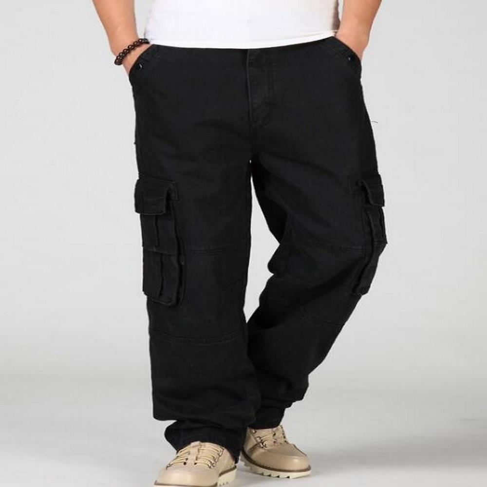 2019 New Mens Denim Cargo Pants Jeans Men Baggy Loose ...
