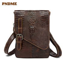 Men's single-shoulder satchel with croc design on the head layer and cross-body bag, casual small casual women s satchel with zips and solid color design