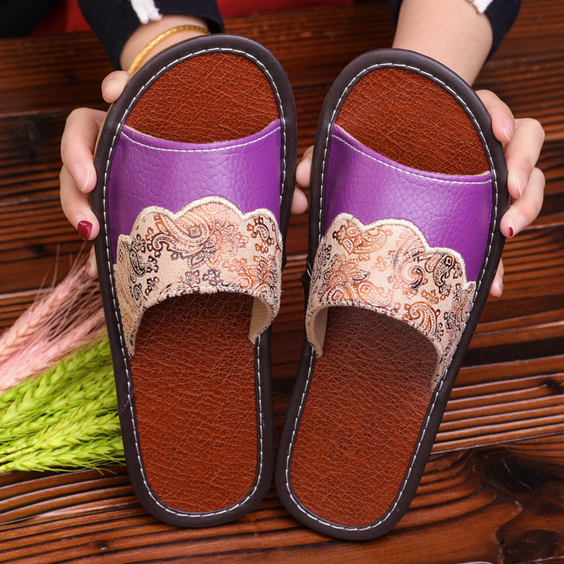 STONE VILLAGE Plus Size 35-44 Summer Indoor Household Home Slippers Non-Slip Couple Leather Slippers Shoes Men Women Slippers 2