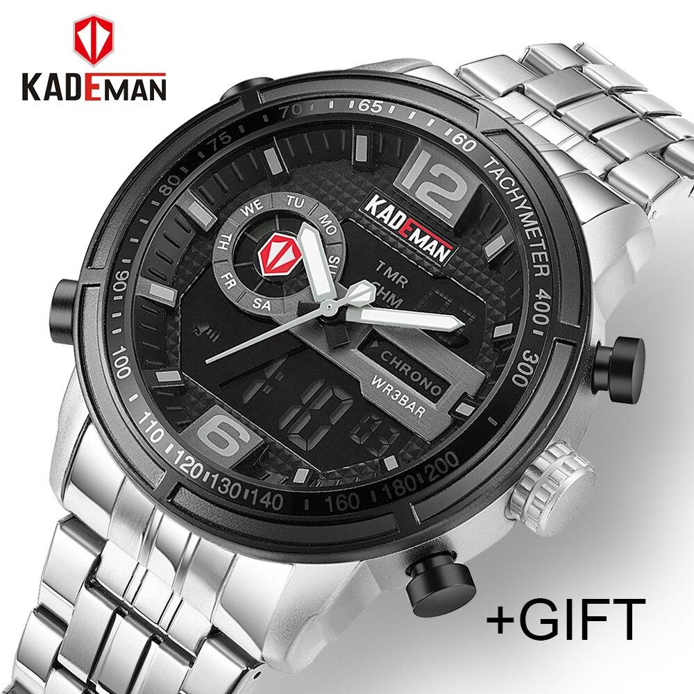 KADEMAN Casual Brand Men Military Sport Watches Men's Digital Analog Quartz Full Steel Waterproof Wrist Watch relogio masculino