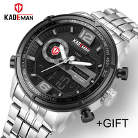 KADEMAN Casual Brand Men Military Sport Watches Men's Digital Analog Quartz Full Steel Waterproof Wrist Watch relogio masculino