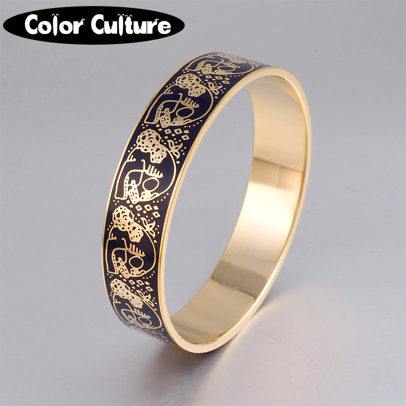High quality Female Bracelet 1.6cm Wide High Temperature Ceramic Enamel Handmade Jewelry Black Skull Pattern Bangles high quality black letter pattern removeable wall stickers