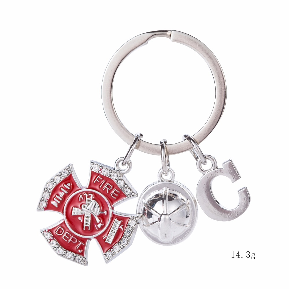 Teamer 26 Letters New Arrival Dangle Keychain Silver Letter Fire Dept Helmet Charm DIY Jewelry Best Gift for Firefighters