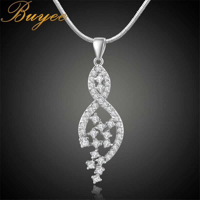 BUYEE Starry Sky Necklace Pendant AAAA+ Rhinestone Pendant Sweater Chain Necklace Charm Women Fashion Jewelry rhinestone pendant chain necklace