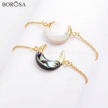 Borosa 5 шт золотой цвет натуральный Абалон регулируемый браслет