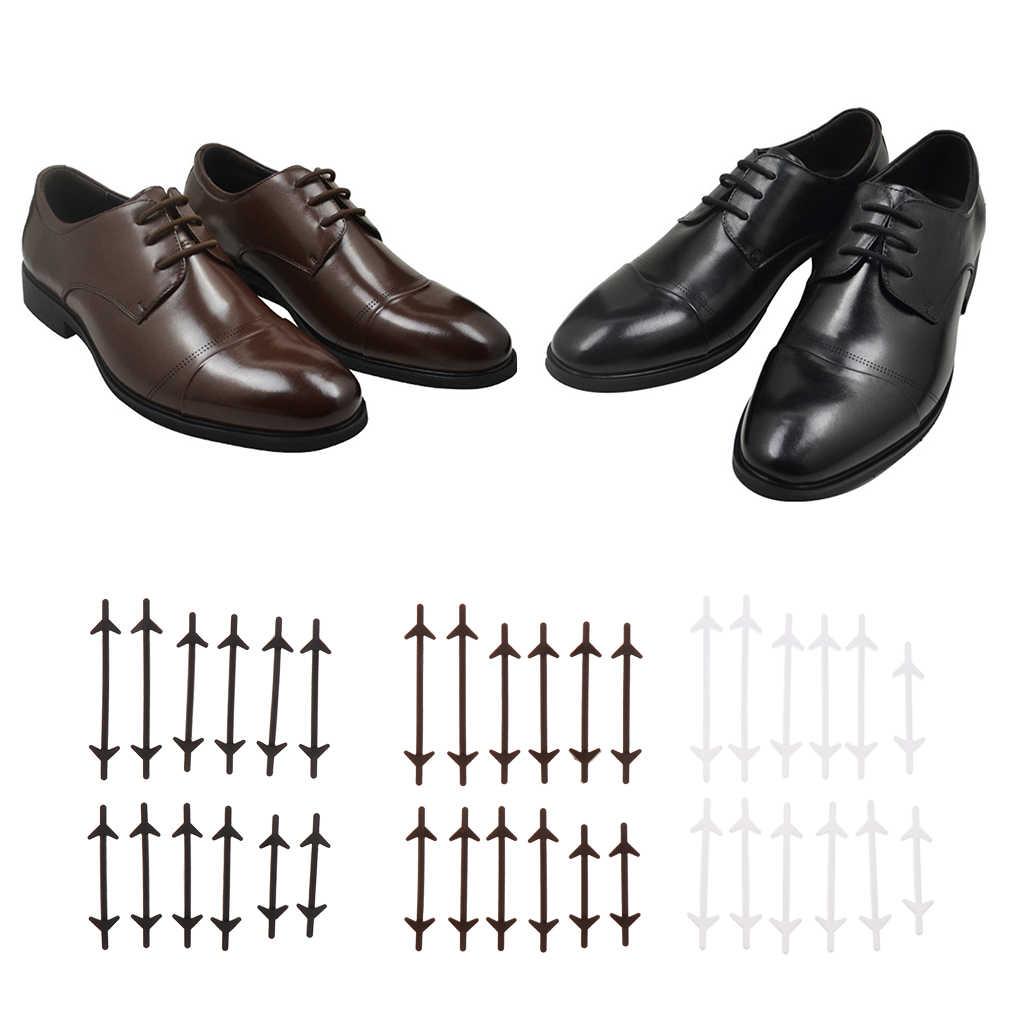 12 adet Hiçbir Kravat Ayakabı Elastik Silikon Ayakabı Danteller Siyah Beyaz Bağlama Kadınlar için Kauçuk erkek ayakkabısı Aksesuarları Toptan