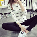 2016 new hot sale women's spring autumn knit pullover sweaters woman o-neck striped sweater 2 colors