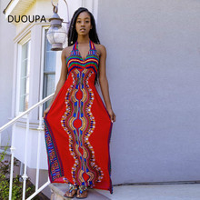 цена на DUOUPA D8015 AliExpress Amazon Wish Explosion African Totem HD Positioning Print Halter Dress