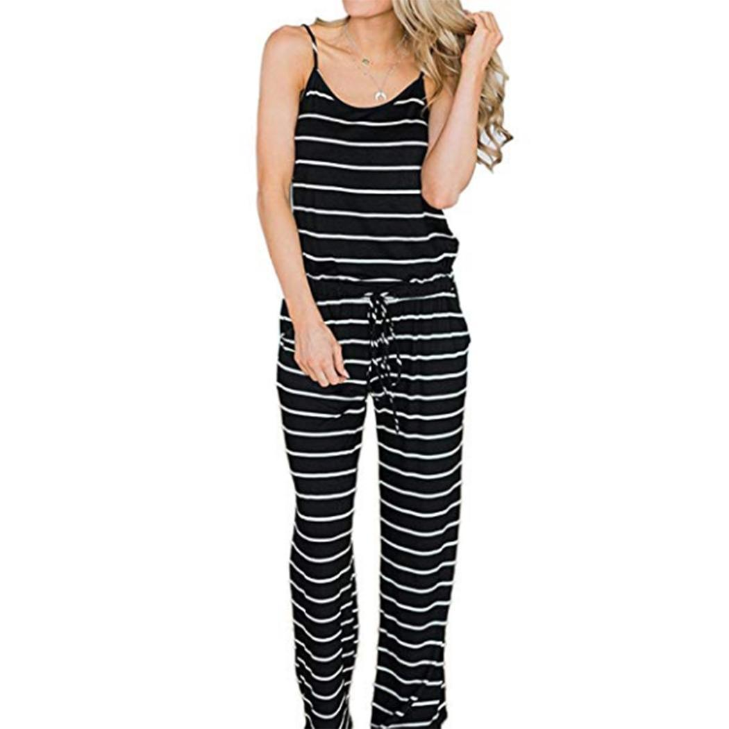 Women Casual O-Neck Spaghetti Strap Striped Ankle Length Mid Waist Print Loose Summer Pocket Jumpsuits(China)