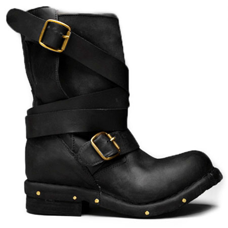 Prova Perfetto Retro Genuine Leather do old Knight Boots Belt Buckle Rivet Low Heel Woman Short Boots Cool Motorcycle Boots