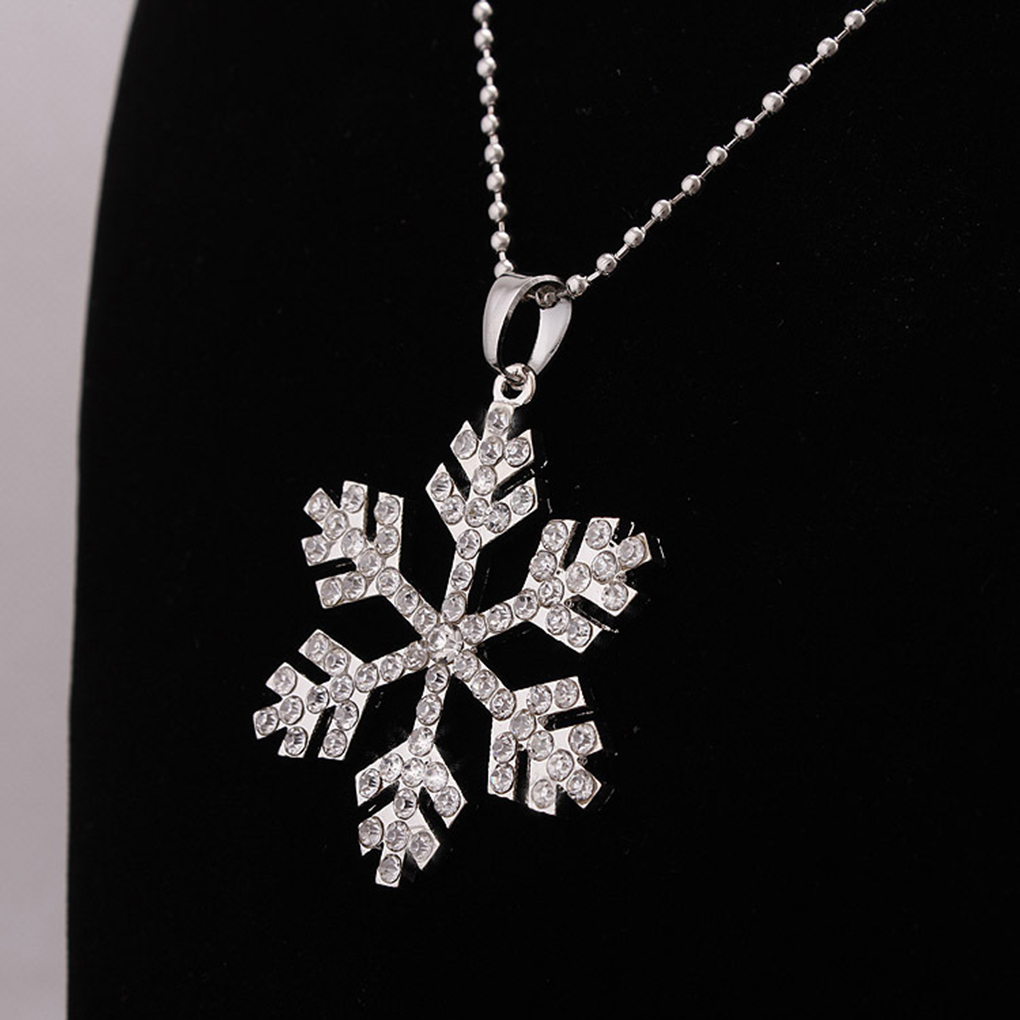 Womens Rhinestones Snowflake Design Pendant Long Necklace for Dresses Sweaters
