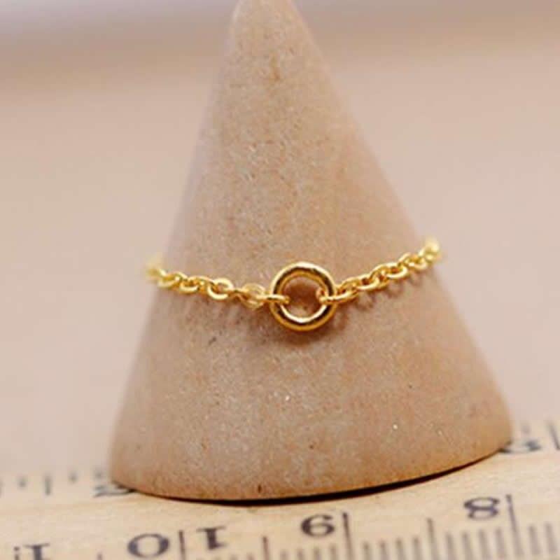 Nouveau Style 999 or jaune O lien chaîne anneau dame mignon anneau
