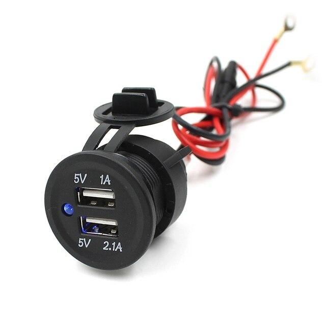 Автомобильное зарядное устройство с двумя USB разъемами для мотоцикла, автомобиля, квадроцикла, 5 В, 3,1 А