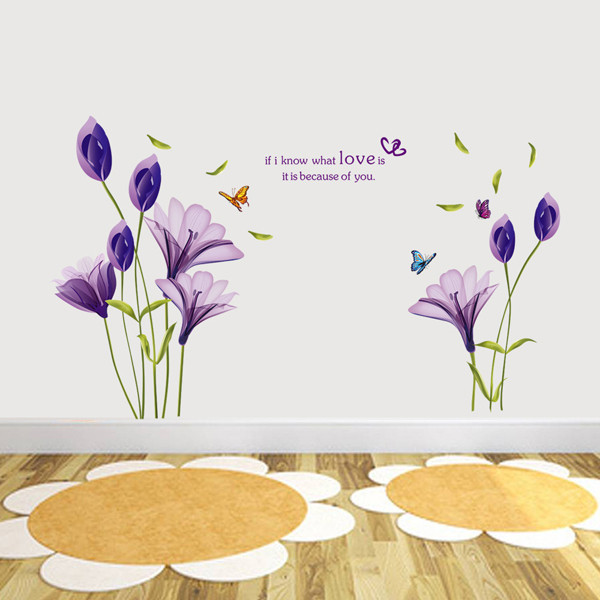 Beautiful-Flowers-Purple-Lilies-Wall-Stickers-Home-Decor-For-Backdrop-Decorative-Wall-Free-Shipping