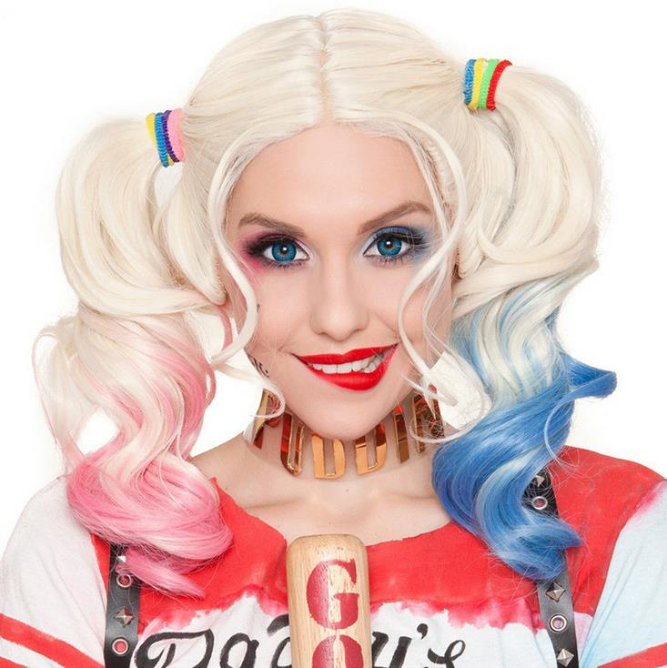 Suicide Squad Harley Quinn Wig Costume Wigs Halloween Lady Cosplay Wig Carnival Party Women Cosplay Party Supplies 40cm ...