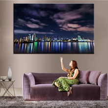 Large size Printing Oil Painting london skyline at night Wall painting Decor Wall Art Picture For Living Room painting No Frame(China)