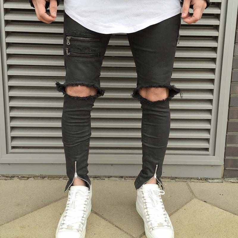 ФОТО High quality 2017 euramerican popularity knee damage cutting Distressed  cultivate one's morality thin elastic jeans high street