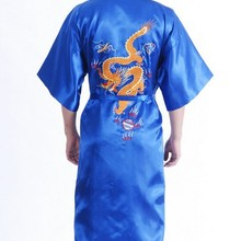 New Year Fashion Blue Male Satin Polyester Night Gown Chinese Embroidery Robe Dragon Kimono Gown Size