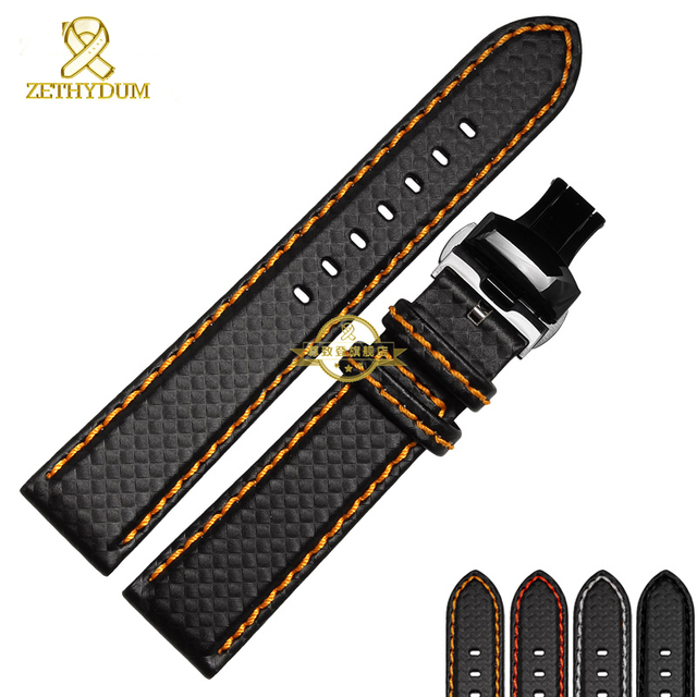 Genuine leather bracelet watch strap Watchband Red stitching soft 18mm 20mm 21 22mm 23mmwatch band accessories Butterfly buckle