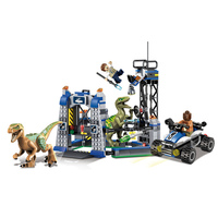 LELE Jurassic World Park Velociraptor Escape Building Blocks Set Bricks Dinosaur Movie Model Kids Toys Gift Compatible Legoings
