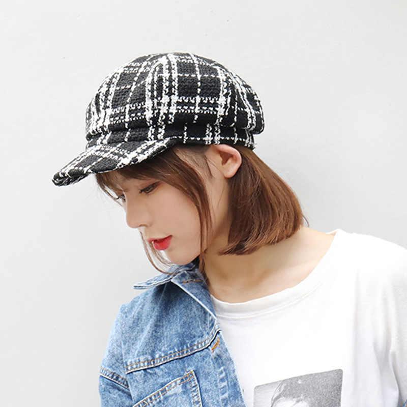 Новинка 2019 осень зима головной убор в клетку шапки для женщин французские береты Модные женские элегантные Шапки Женские однотонные береты шапки