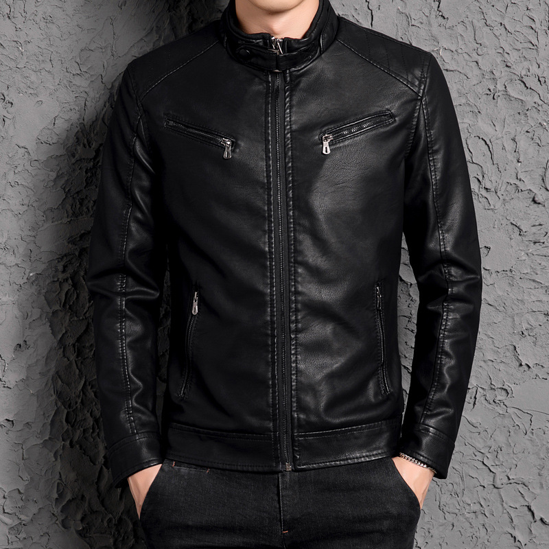 COCO 2020 New Men Leather And Velvet Collar Pu Leather Jacket Of Cultivate One's Morality