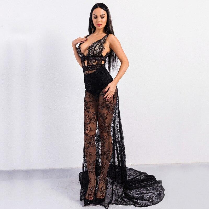 84ad5eed9c Nu Transparent Black Dos Sukienka Longue Elbise Robes Bretelle Dentelle Sexy  Longo Noir Femme Robe Muxu vqax76C