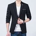 Корейский Slim Fit Блейзер Мужчины Черный Одна Кнопка Паук Blazer куртка Для Мужчин 2016 Бренд Одежды Мужской Пиджак мужской блейзер