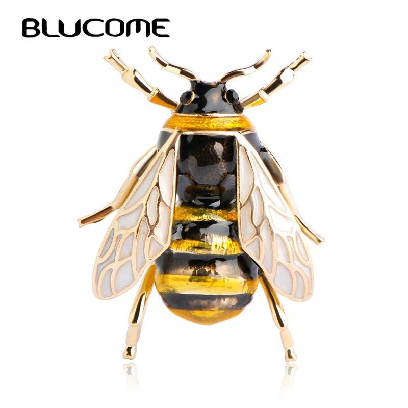 Blucome Милая Пчелка Fly насекомых Брошь детская одежда для девочек Интимные аксессуары золотой цвет черного, Желтого Цвета Эмаль Броши подарки на день рождения ювелирные изделия