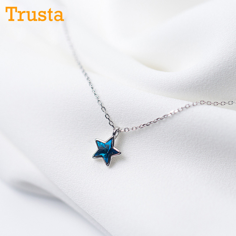 Aktiv Trusta 100% 925 Solide Sterling Silber Halskette Frauen Mädchen Süße Stern Blau Cz 40 Cm Kurze Schlüsselbein Halskette Für Teen Schmuck Ds981