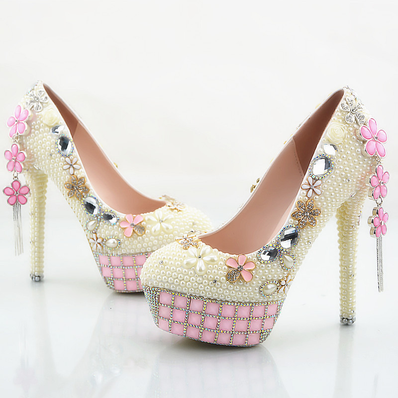 Ivory Pearl Wedding Shoes Women Stiletto Heel Bridal Dress Shoes Party Prom Pumps Rhinestone Pink Platforms Plus Size US 11 pointed toe high heels for wedding party rhinestone covered bridal dress shoes stiletto heel banquet pumps white pink red color