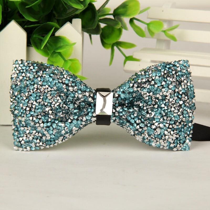 SHENNAIWEI Lake Blue Silver crystal and gem bow tie mens diamond bowties 2016 high quality free shipping 12cm-6cm