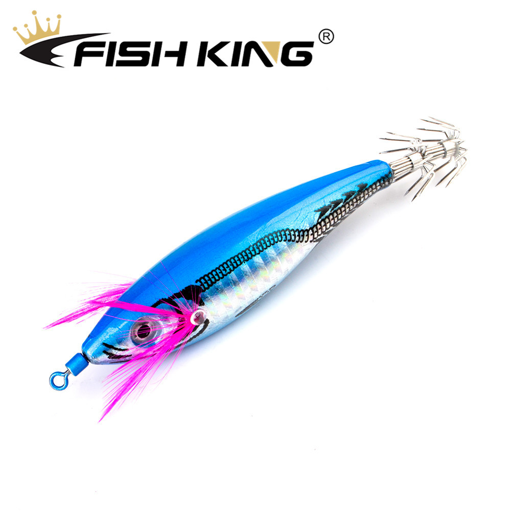 FISH KING Fishing Lure 7cm/11.5g Squid Hook With Crane Swivel Wobblers Jigs Octopus Cuttlefish Wood Shrimp Hard Baits 3D Eyes