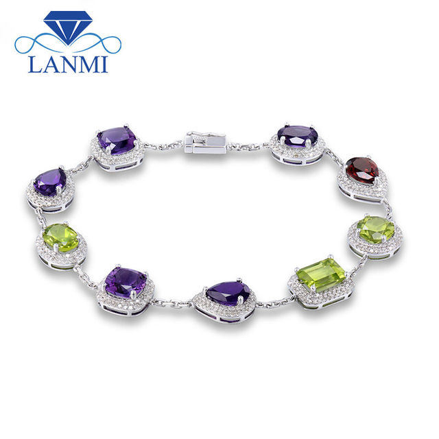 Vintage Unqiue Solid 14Kt White Gold Natural  Amethyst Peridot Garnet Bracelet Natural Gem Luxury Design Wedding Jewelry NA0014A