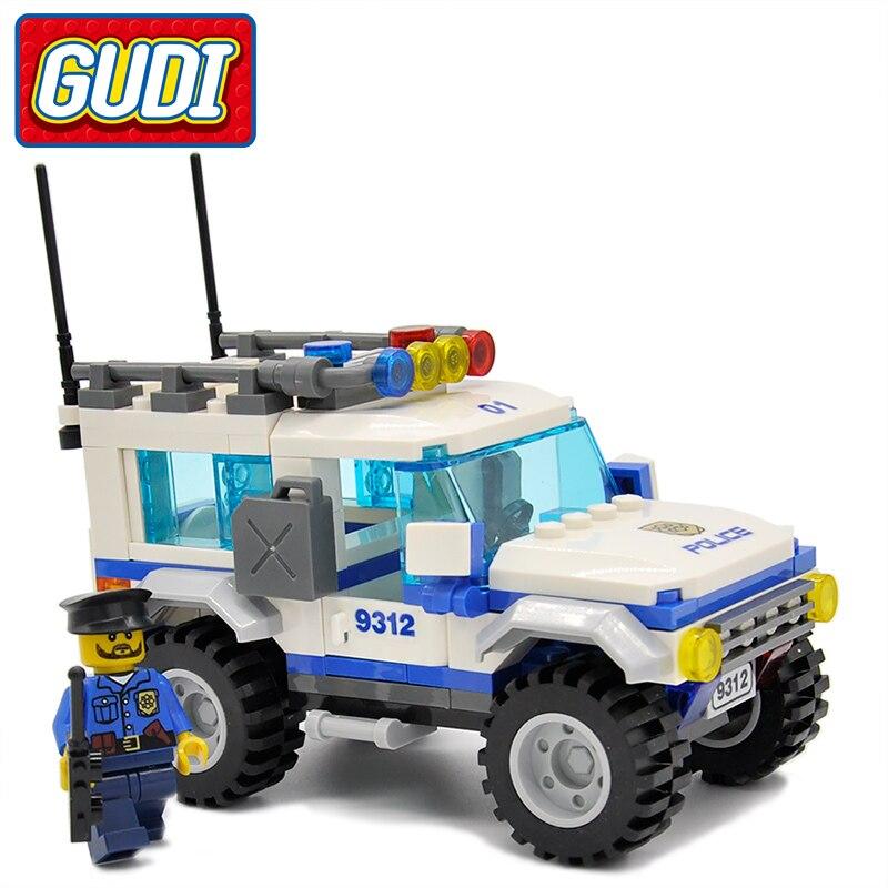 GUDI Legoings City Police Friends SUV 163pcs Bricks Car Building Blocks Classic Assembled Gift Sets Toys For Children стоимость