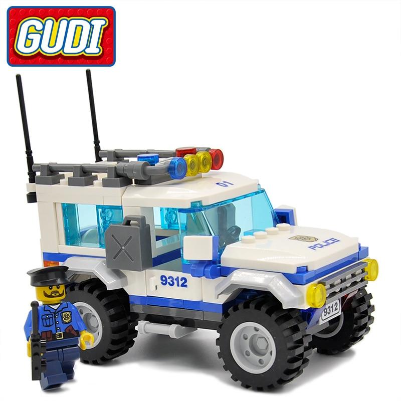 GUDI Legoings град полиция SUV 163 бр. Тухли автомобил строителни блокове класически сглобени подаръчни комплекти играчки за деца  t