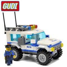 GUDI Legoings City Police SUV 163pcs Bricks Car Building Blocks Classic Assembled Gift Sets Toys For Children