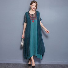Summer Vintage 2 Piece Large O-Neck Print Maxi Casual Dress Linen Embroidery Fashion Office Ladies Long Plus Size Dresses