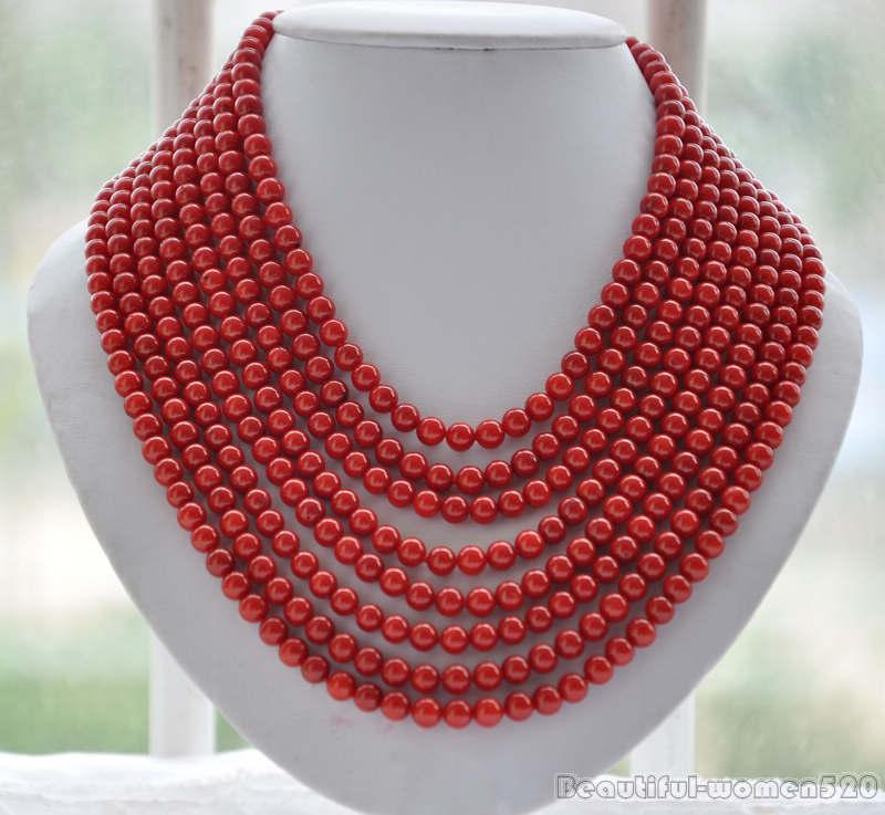 Z6035 8 brins véritable 6 MM collier de perles de corail rouge rond 16