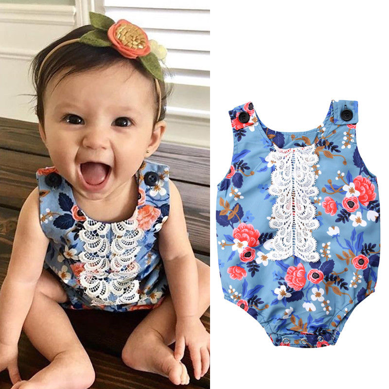 2018 Cute Newborn Baby Girl Romper Kids Lace Flower Romper Sleeveless Jumpsuit Clothes Outfit Summer Jumper One-pieces