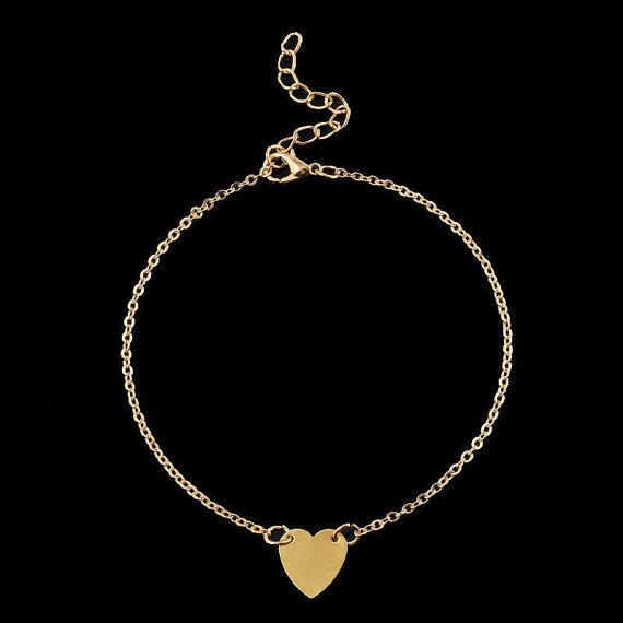 2017 модные браслеты на ногу с сердцем золотые простые ножные браслеты с цепочкой ножные браслеты «сердце» ювелирные изделия босиком ноги ювелирный браслет Шевроле