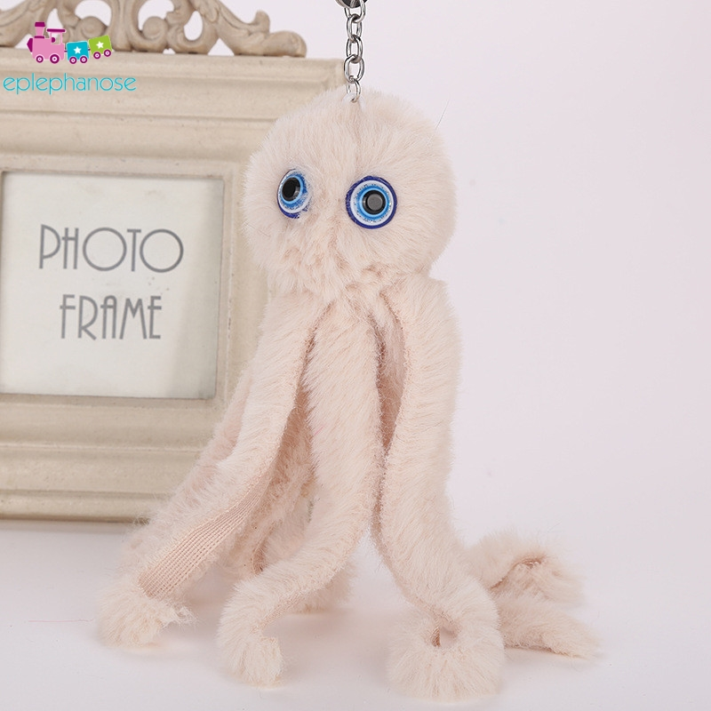 Lovely Plush octopus Fur Pendant Keychain Stuffed Toys Soft Animal Car Bag Boy Key ring Cute Small Mini Doll Children Gifts Xmas