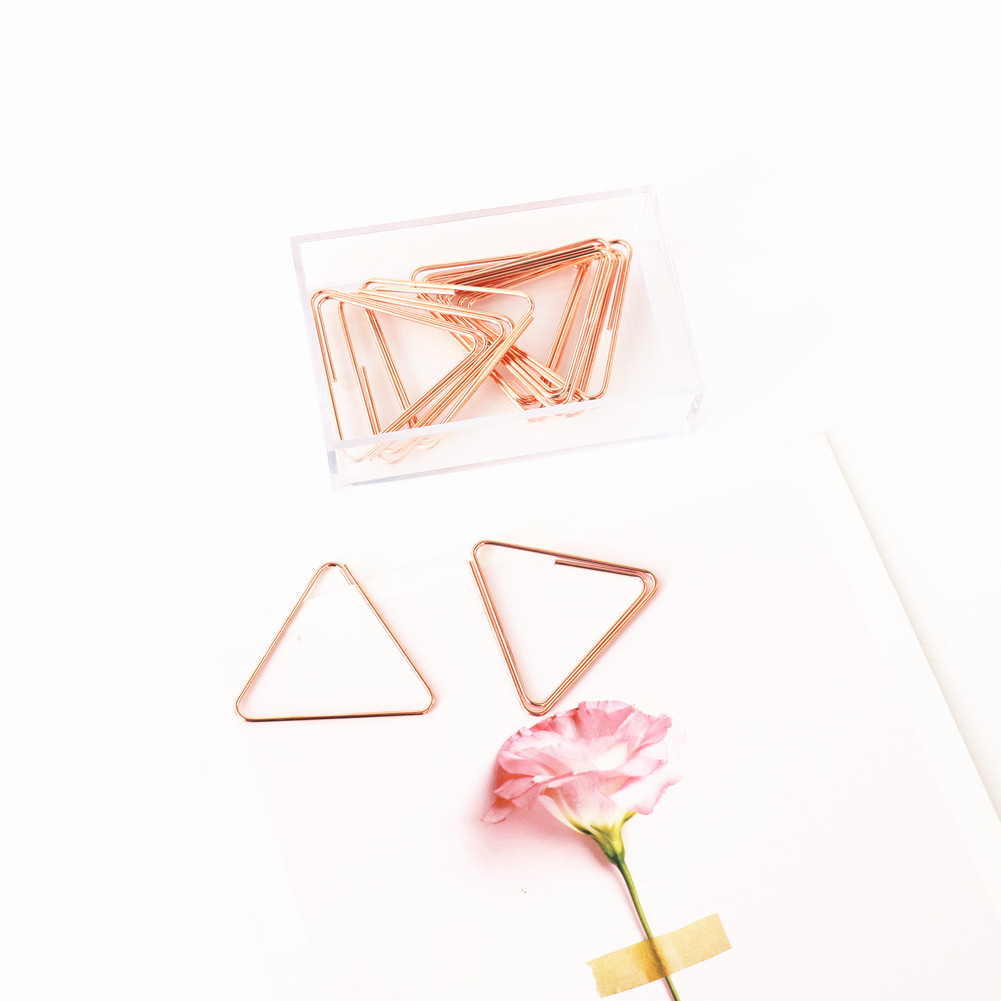 TUTU 20pcs/lot Triangle Paper Clips Kawaii Stationery Clear Binder Clips Photos Tickets Notes Letter Paper Clip Stationery H0289