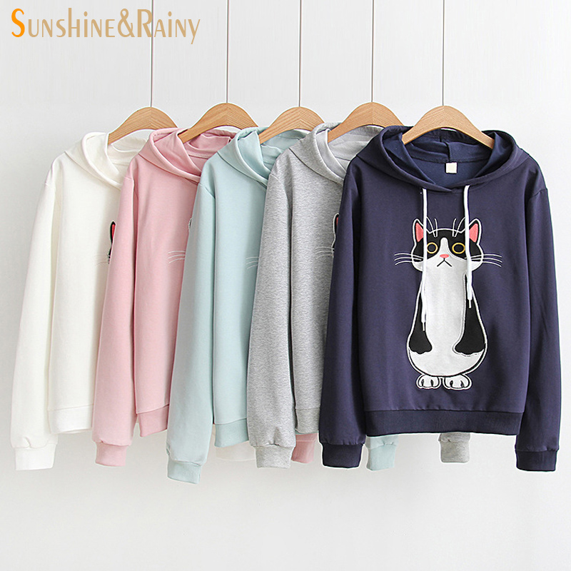2017 summer autumn cartoon cat embroidery t shirt female cartoon pocket cat funny long sleeve loose cute hooded tops for girls