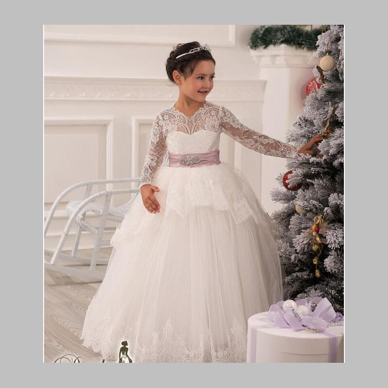 Cute 2017   Flower     Girls     Dresses   With Long Sleeves Lace White Ball Gowns Sheer   Girl     Dress   Floor-Length Organza Pageant   Dresses